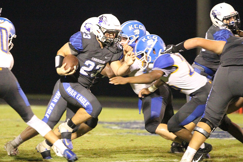 Kentucky Country Day players are no match for Sophomore Thomas White as he rushes for 88 yards during the game.