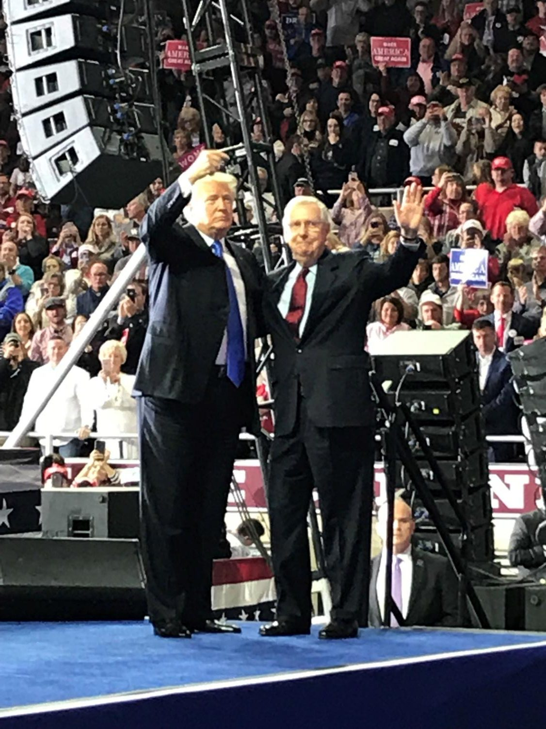 President Trump joins Senator McConnell at a rally in Richmond, Kentucky.