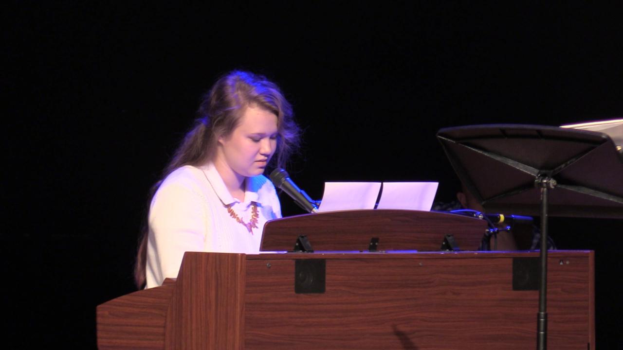 Daniella Okhotnikova, 12, performs in chapel on Oct. 31.