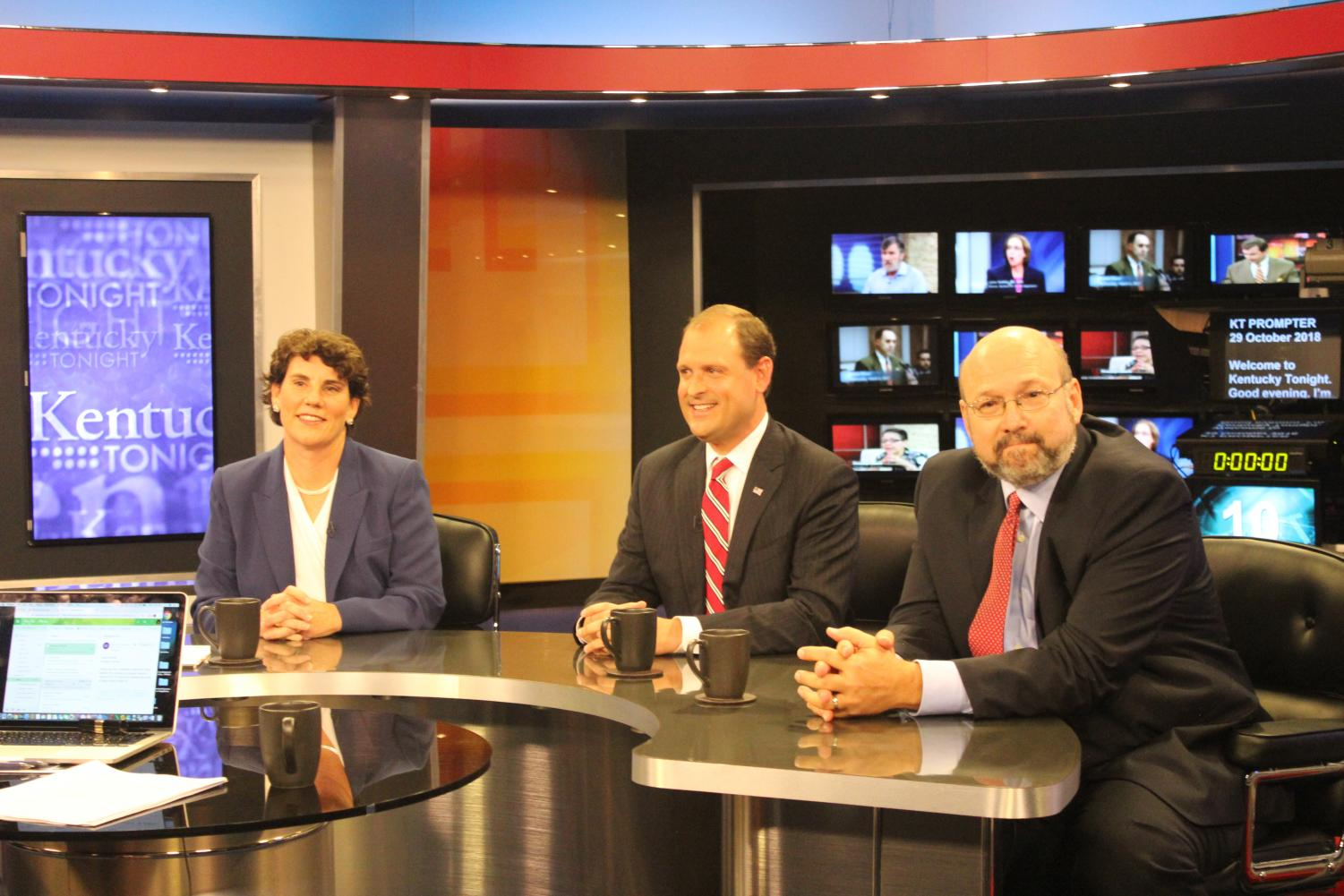 Amy McGrath (D), Congressman Andy Barr, and Frank Harris (L) gather for the only debate during the race for the 6th Congressional Seat.