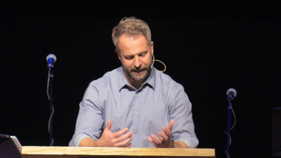High+School+Spiritual+Life+Director+Adam+Ray+speaks+in+chapel+on+Oct.+31.