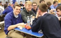 Adam Huff, 11, Sam Tipton, 11, Connor Vance, 11, and Michael Navis, 11, enjoy a break during lunch.