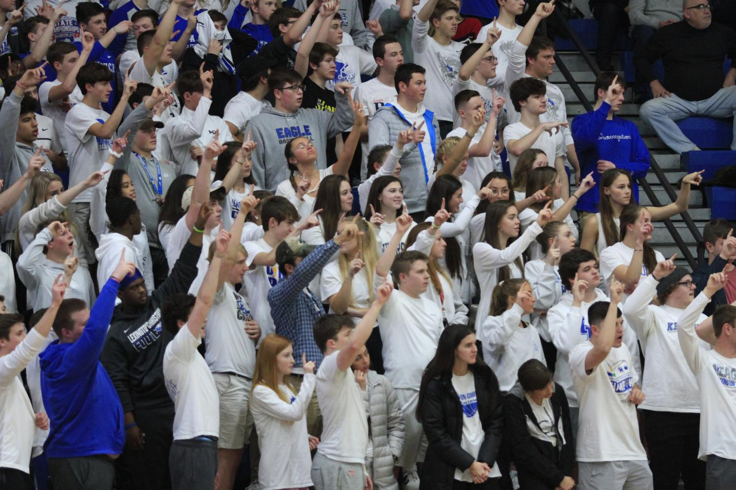 It's a white out as the student section shows out in force for the rivalry game against Catholic.
