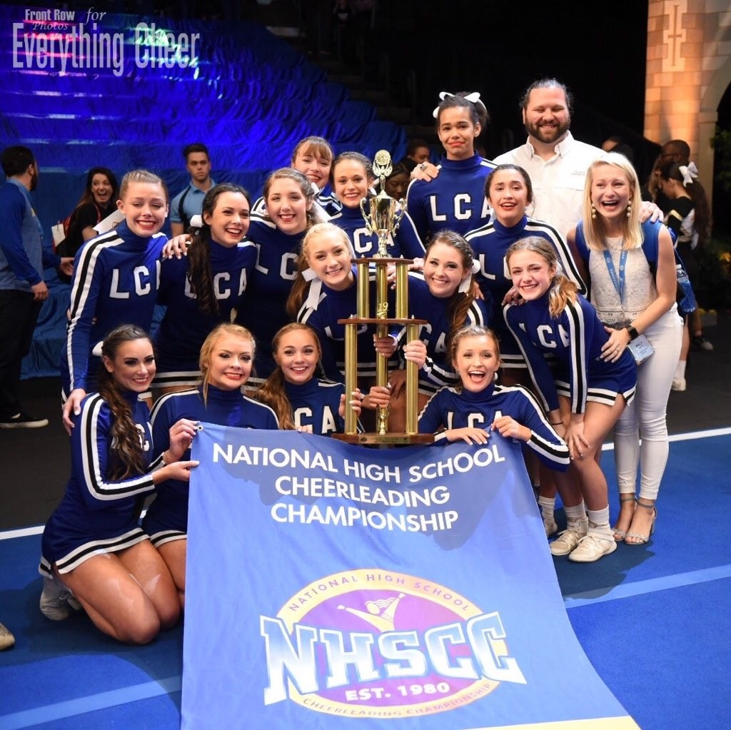 The competition cheer team wins the national championship in Orlando. Florida.