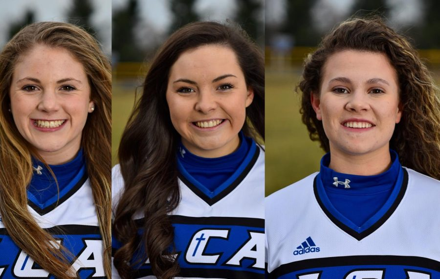 Olivia+Paris%2C+11%2C+Elise+Shewmaker%2C+12%2C+and+Millie+German%2C+12%2C+have+committed+to+play+softball+in+college.