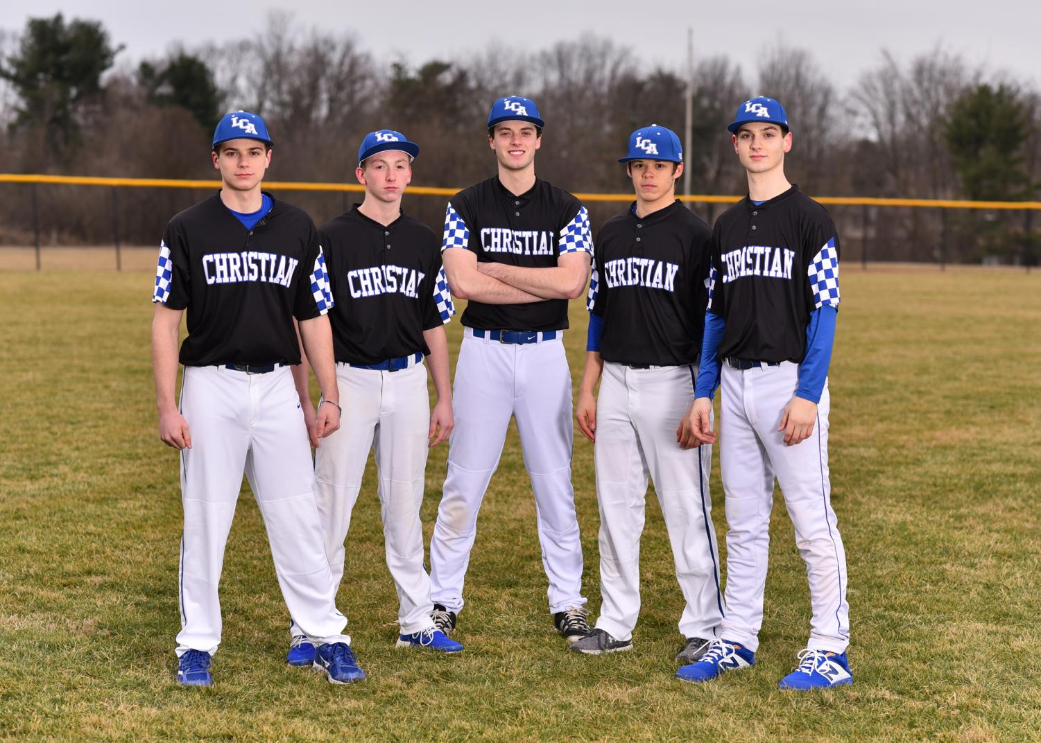 Senior baseball players. Jackson Banks, Jake Standiford, Andrew Branstetter, Griffin Sahli, and Matthew Johnson