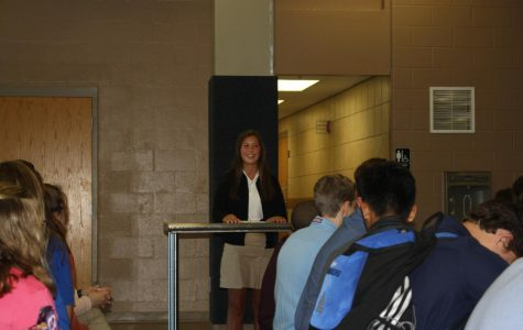 Laurel Setzer, 9, makes her campaign speech.  She was elected Secretary/Treasurer for the freshman class.