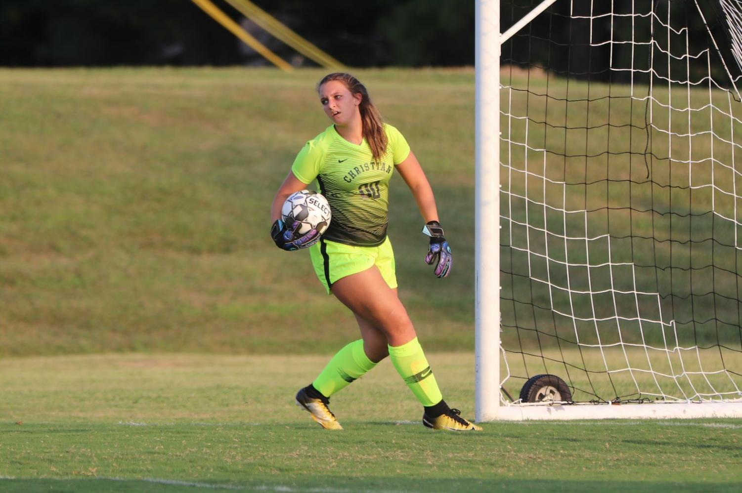 Hadley Whipple, 10, made key saves in the Eagles victory over Model.