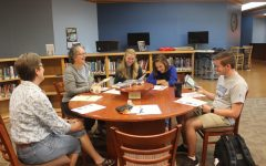 Students at the first Book Club meeting enjoyed picking their first selection to read. Mrs. Benson, Dr. Fults, Emma Jane Scott, 9, Sarah Keck, 9, Brennan Graham, 12.