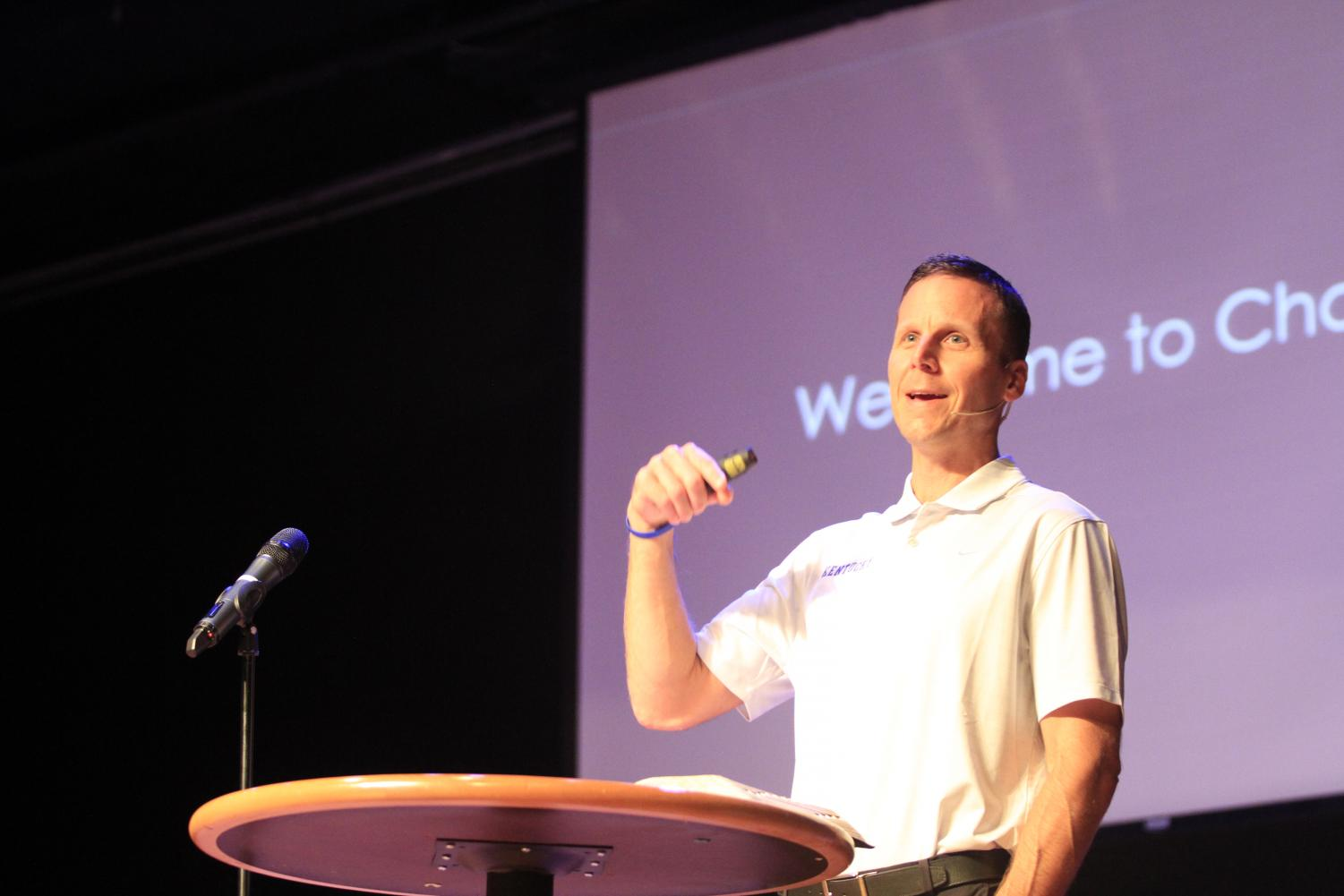 Jason Cummins, Executive Associate Athletics Director at UK speaks to students in Chapel.