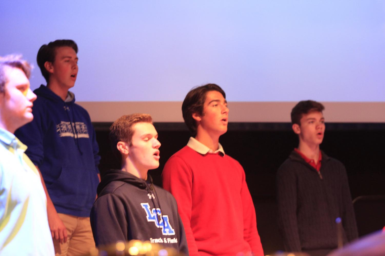 Men's Chorus sang a hymn to open Chapel on October 9.