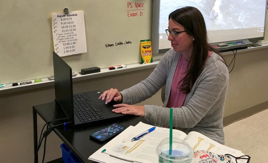 Mrs. Jarvis returns from maternity leave to teach her students online.