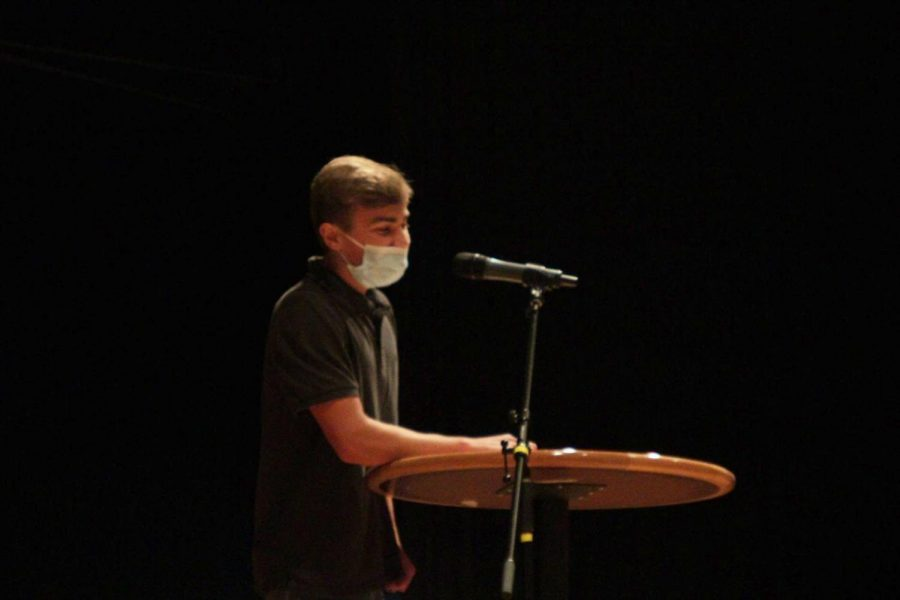 Andrew Schwartz, 11, delivers a speech to his classmates as he runs for student council. Andrew was elected to serve on student council this year.