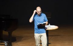 Spiritual Life Director Justan Borth addresses a live chapel after more than a year away due to COVID.