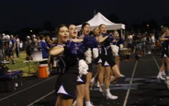 Cheerladers at work during the Catholic game.