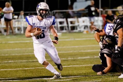 Senior Mason Moore step sin at quarterback for the Eagles in the game against Boyle County.