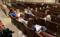 Ashley Whitaker, 12, and Alyssa Albornoz meet with their junior high groups for Biblical Leadership.