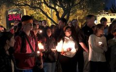 Students gather in a vigil for those killed and injured in the school shooting in Parkland, Florida.